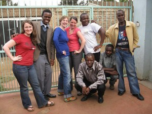 The Voice of Kibera Editorial Team (left to right) Jamie Lundine, Josphat Keya, Erica Hagen, Melissa Tully, Sande Wycliffe, Fredrick Bary, Jeremy Omondi, (front) Douglas Nmale