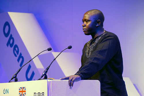 Kepha Ngito speaking at the OpenUp12 conference in London, November 2012.