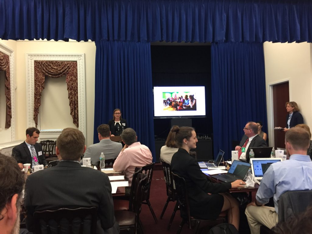 Courtney Clark of the US Peace Corps introduces the White House Mapathon, image of Map Kibera/Tunapanda