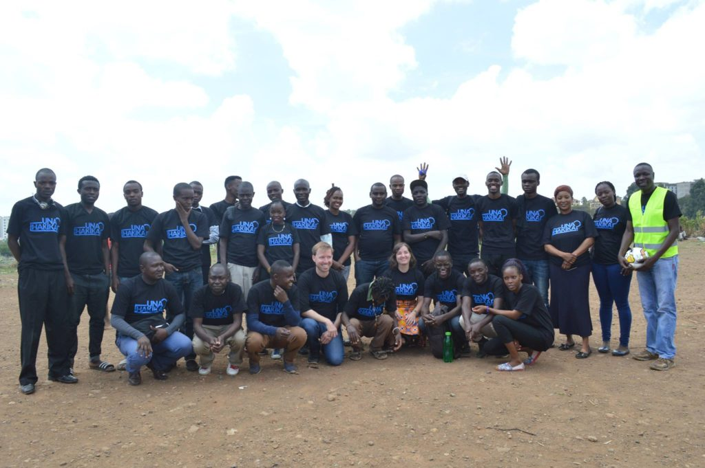 Community Ambassadors and Map Kibera staff at the Una Hakika? launch event in Kibera