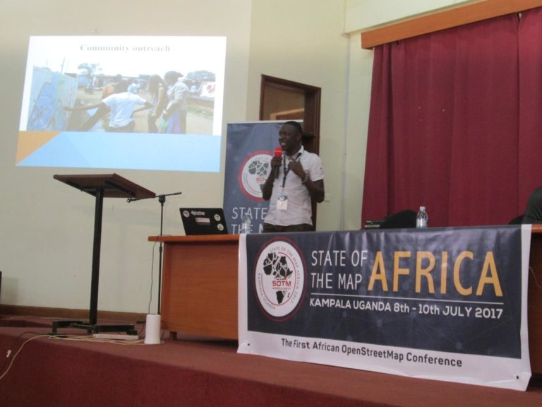Joshua doing a presentation at SOTM Africa