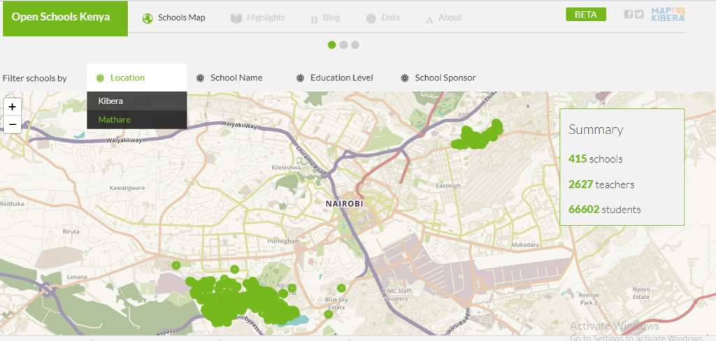 A screenshot of the updated Open Schools Kenya website with the new search by location faeture