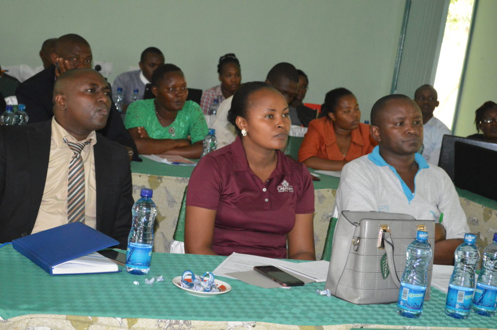 Mr. Eliud Ngila Munya Chief Officer, Planning. Makueni County on the front left following the training keenly