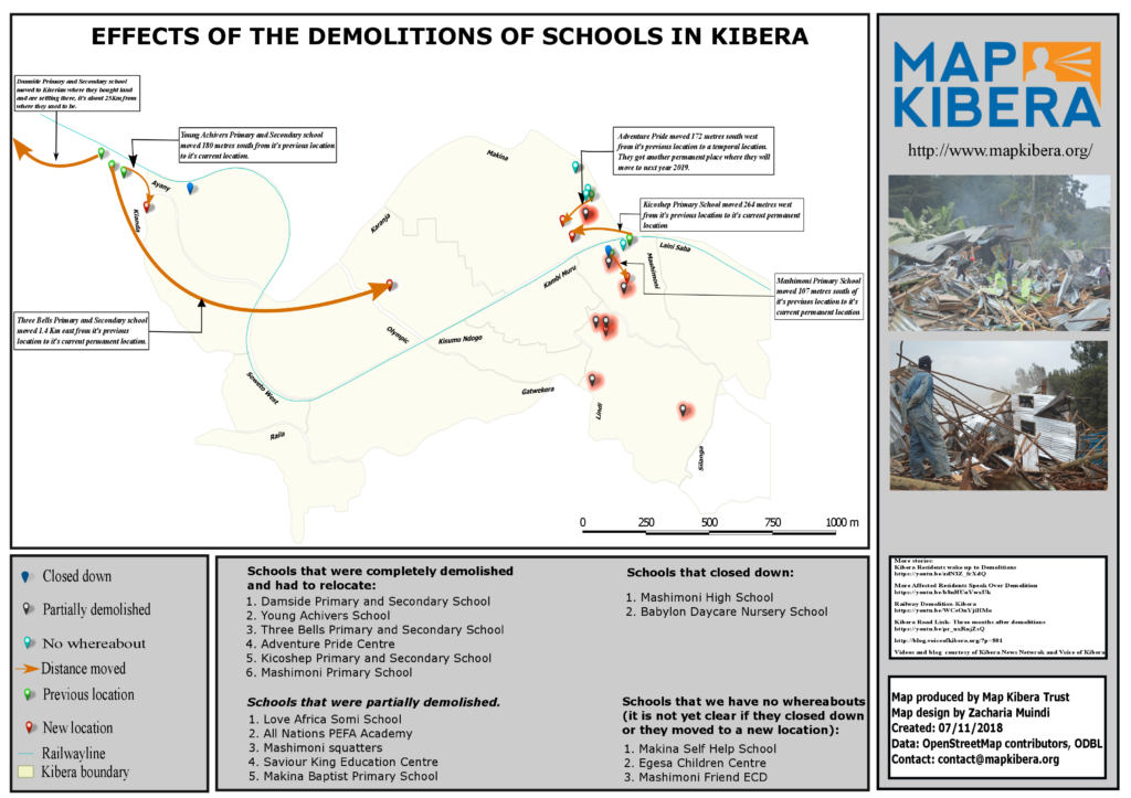 A Map designed by Zack Wambua showing the effects of the demolitions of schools in Kibera.