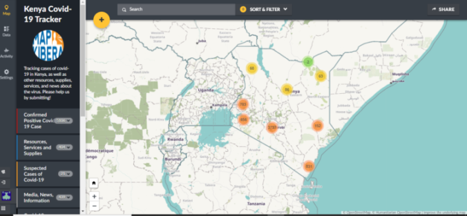 The Kenya covid tracker main page, with map showing distribution of cases, resources and other posts